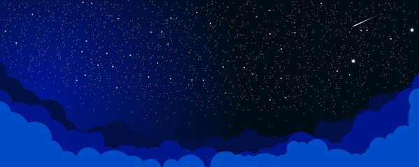 Sky color clouds landscape background design. Starlight Night. Illustration, vector