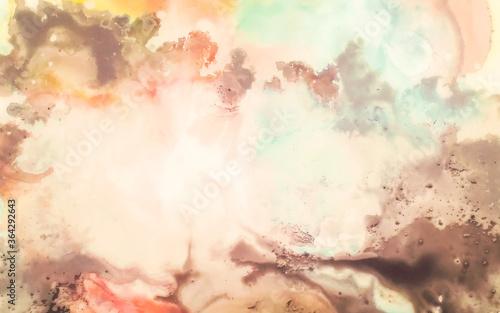 Obraz na plátně Sunny Clouds Ink Wallpapers. Ink Wash Painting.