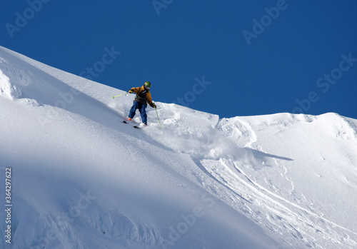 Ski touring in harsh winter conditions Canvas Print