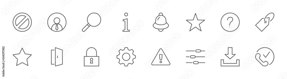 Fototapeta Interface Line Icons. User, Search Info, Star, Bell, Lock Alert. Editable Stroke