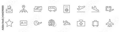Photo Airport Line Icons