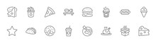 Foods, Drinks Line Icons. Pizza, Egg, Meat, Sushi, Chicken, Hamburger. Stroke