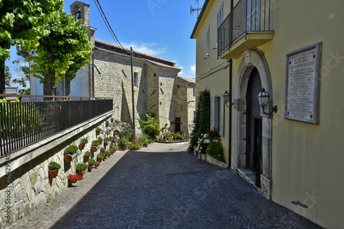A street decorated with flowers in the medieval town of Cairano in the province of Avellino, Italy Canvas Print