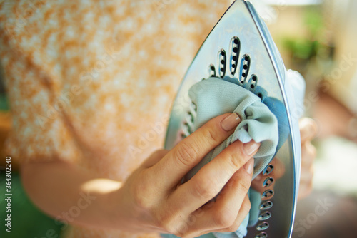 woman cleaning iron with cloth in house in sunny day Fotobehang