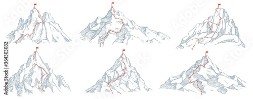 Fototapeta Sketch route to mountain peak. Hand drawn sketch mountains, path to top and climbing journey plan vector illustration set. Red flag on top. High destination, achievement and success symbol obraz