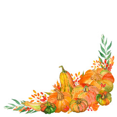 Watercolor composition of pumpkins and autumn leaves for frame, border and card