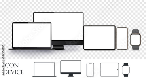 Set realistic devices. Devices and Electronics related line icons. Device size screen, realistic set  gadget display template, computer desktop, smartphone, tablet and smartwatch. Vector illustration