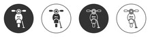 Black Scooter Icon Isolated On...