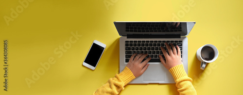 Obraz Woman hands using a laptop computer from above - fototapety do salonu