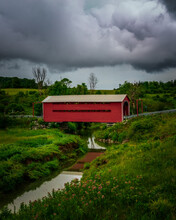 Covered Bridge In Countryside