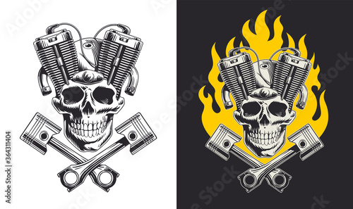 Canvas Print Skull with motorcycle engine and pistons
