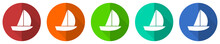 Yacht Icon Set, Red, Blue, Gre...