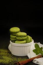 Green Tea  Macarons Cookie Homemade  Berkery In White Cup