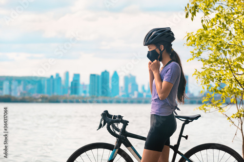 Wearing covid-19 mask while riding bike Canvas