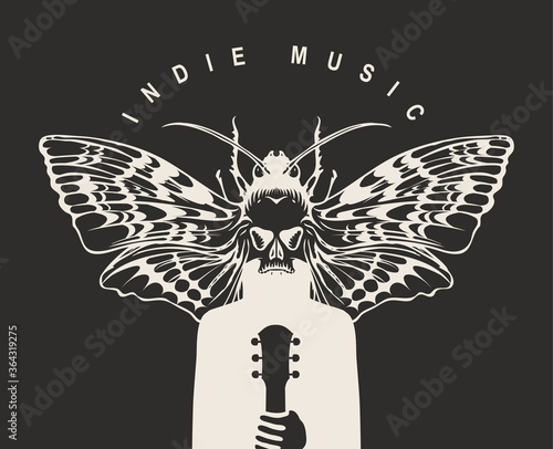 Foto Indie music festival poster with a mysterious winged creature with a moth instead of a head, who holds a guitar