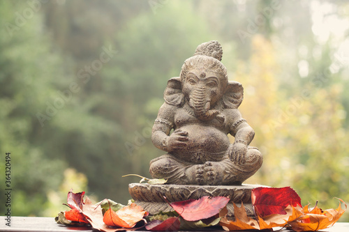 ganesha deity stone statue Canvas Print