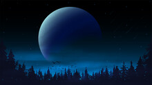 Night Landscape With A Large P...