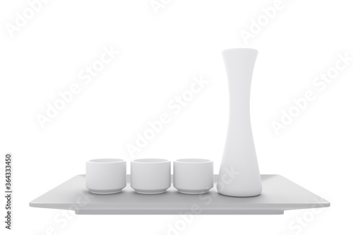 japanese traditional with sake cup and bottle on white background Wallpaper Mural