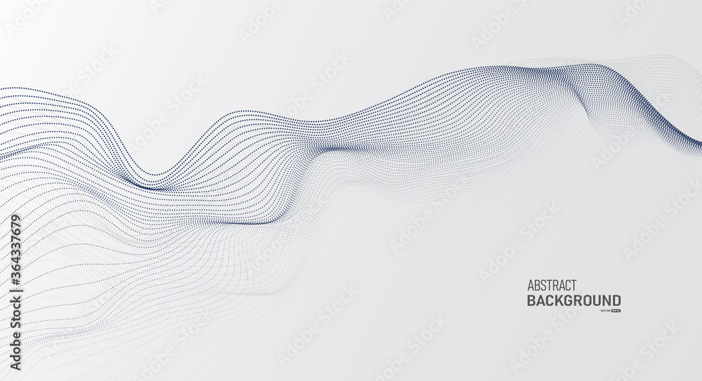 Fototapeta Grey white abstract background with flowing particles. Digital future technology concept. vector illustration.