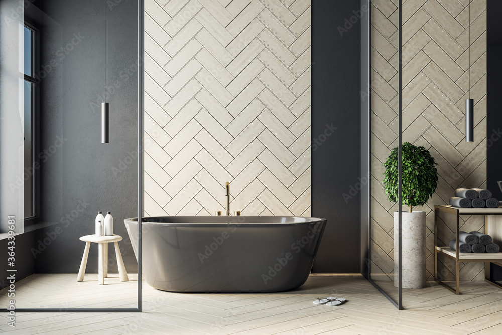 Fototapeta Modern bathroom interior with black bath