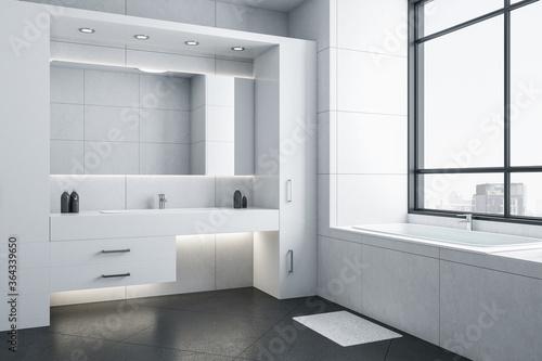 Fototapeta Modern bathroom with white bathtub obraz