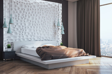 Front view of minimalistic bedroom interior with blank abstract wall,