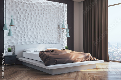 Fototapeta Front view of minimalistic bedroom interior with blank abstract wall, obraz