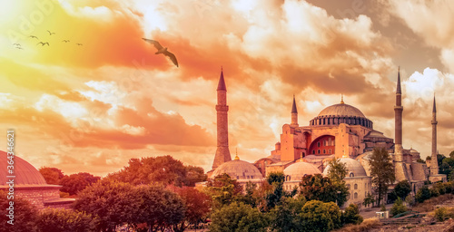 Istanbul Turkey – April 05, 2019:  Sunny day architecture and Hagia Sophia Museu Wallpaper Mural