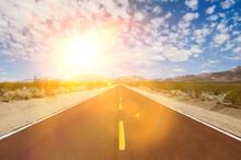 Straight Desert Road With Stro...