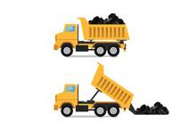 Mining Dumper Truck Isolated On White (Yellow Mining Dumper Truck)