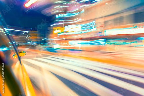 Photo Motion blurred drive through Tokyo, Japan at night