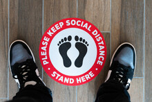 Please Keep Social Distance Spacing Sign / Sticker On Floor With Feet