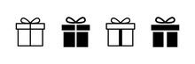 Present Gift Box Icon. Vector Isolated Elements. Christmas Gift Icon Illustration Vector Symbol. Surprise Present Linear Design. Stock Vector.