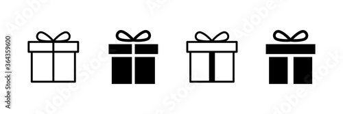 Obraz Present gift box icon. Vector isolated elements. Christmas gift icon illustration vector symbol. Surprise present linear design. Stock vector. - fototapety do salonu