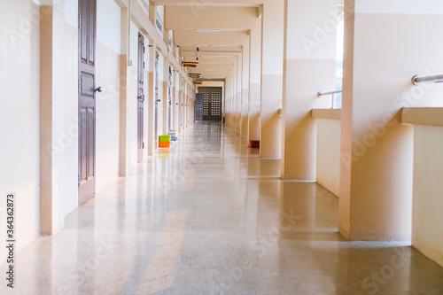 Valokuvatapetti High School hallway corridor in College or university empty hall at classroom, n
