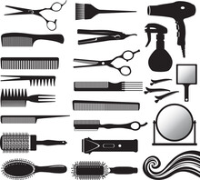 Set Of Vector Silhouette Of Hairdressers Tools