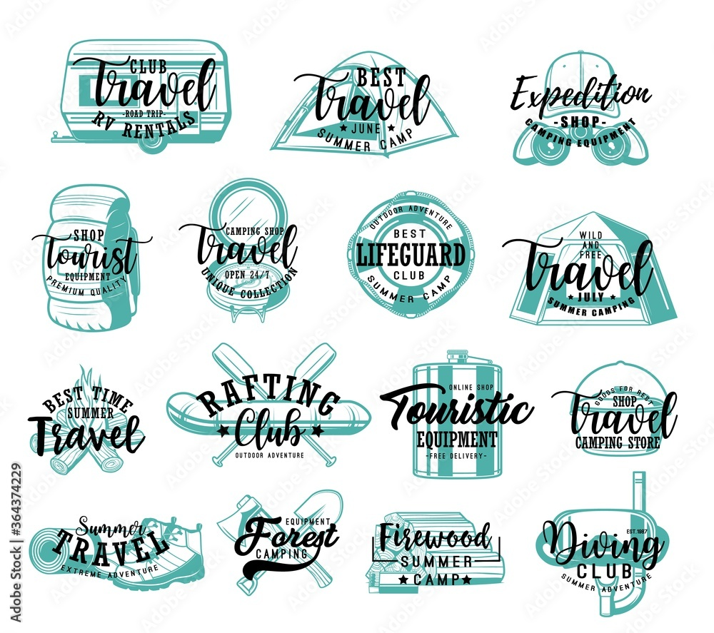 Fototapeta Travel tourism lettering icons, summer adventure and camping vacations, vector badges. Hiking camp expedition, scuba diving and rafting club emblems, outdoor touristic wanderlust equipment