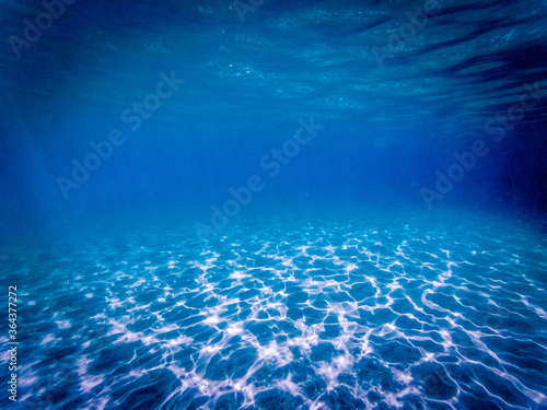Fototapeta tropical blue ocean underwater background - luxury nature pattern obraz