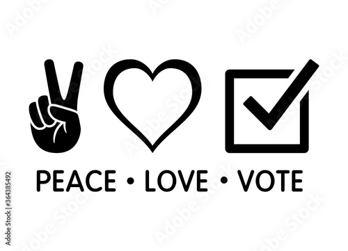 Peace love vote election concept flat vector design for apps and print