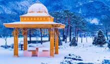 Gazebo In Snow Covered Public ...
