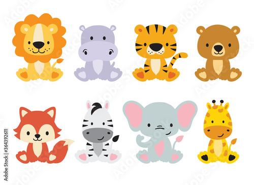 Naklejka premium Zestaw uroczych dzikich zwierząt, w tym lew, tygrys, hipopotam, niedźwiedź, lis, zebra, żyrafa i słoń. Wektor zwierzęta dżungli safari. Ilustracja zwierząt leśnych.