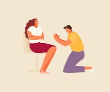 Family Quarrel. Repentant Man Apologizes To Woman Vector Illustration