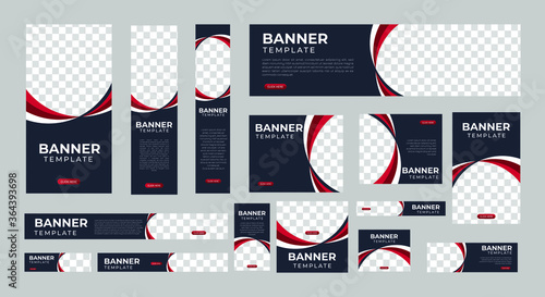 set of creative web banners of standard size with a place for photos Canvas-taulu