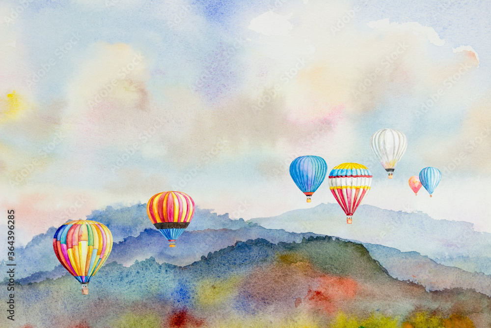 Fototapeta Watercolor painting Colorful hot air balloons flying over mountain.