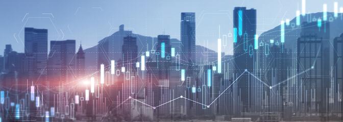 Fototapeta na wymiar Stock trading, investment, candle stock market chart diagram website header banner city view skyline.