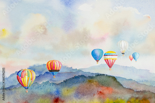 Fototapeta Watercolor painting Colorful hot air balloons flying over mountain. obraz