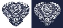 Motor. Bikers Tattoo. Technica...