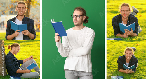 Fototapeta Collage of photos with handsome man reading books obraz