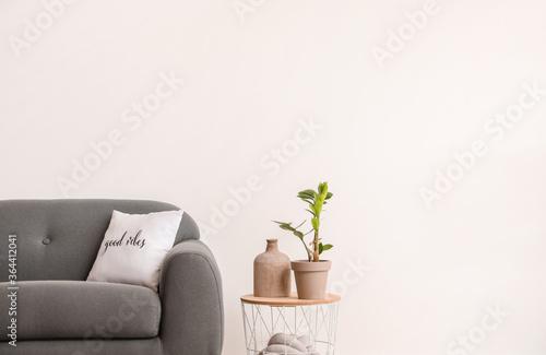 Fototapeta Stylish sofa with table in living room obraz