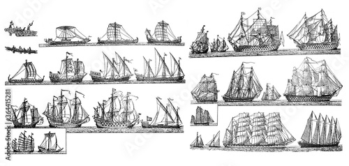 Sailingships different types of Antique sailing ships/ Vintage and Antique illus Canvas Print